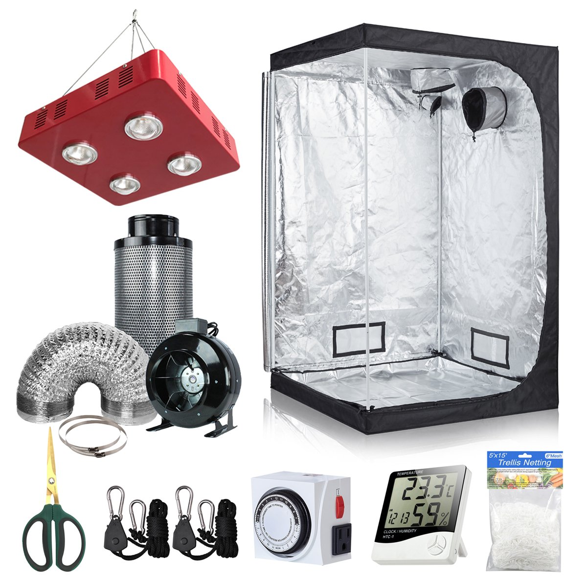 BloomGrow 48''x48''x80'' Grow Tent + 6'' Fan Filter Duct Combo + 800W LED Light + Hangers + Hygrometer + Shears + 24 Hour Timer + Trellis Netting Indoor Grow Tent Complete Kit