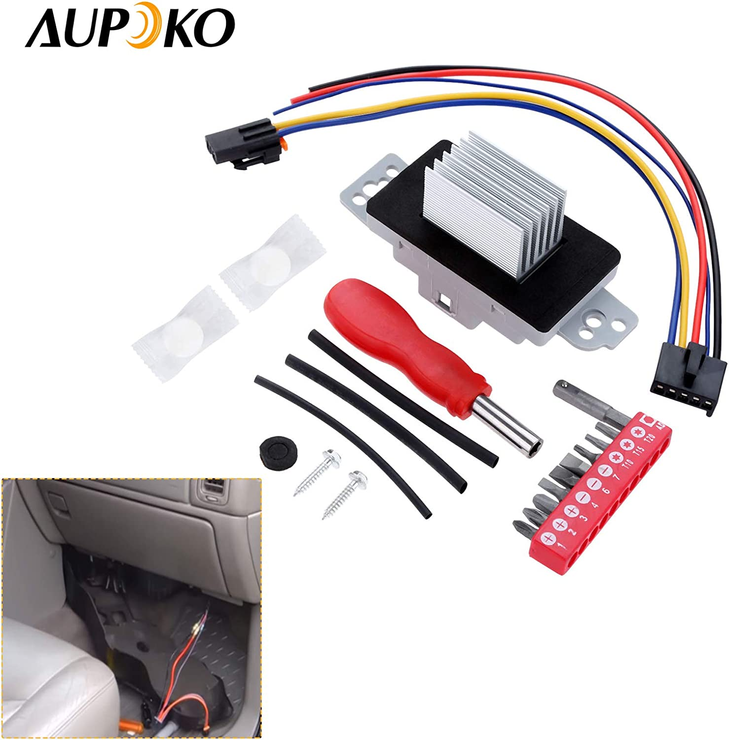 Aupoko 89018778 Blower Motor Resistor Complete Kit with Harness 89019351 89019351,19260762,15-80567 AC Blower Motor Resistor Kit Replaces 15-81773 Fits for Buick Rainier Cadillac Chevrolet GMC
