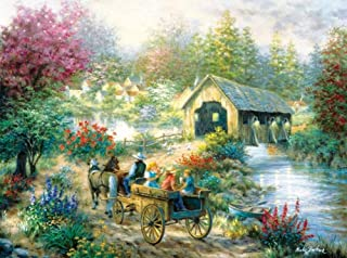 product image for SUNSOUT INC Merriment at The Covered Bridge 1000 pc Jigsaw Puzzle, Road to The Covered Bridge, Covered Bridge to Town