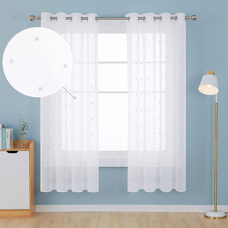 Deconovo Visillos para Ventanas Dormitorio Cortina Translúsida Salón con Ojales 1 Pieza 140 x 280 cm Azul Lunares: Amazon.es: Hogar