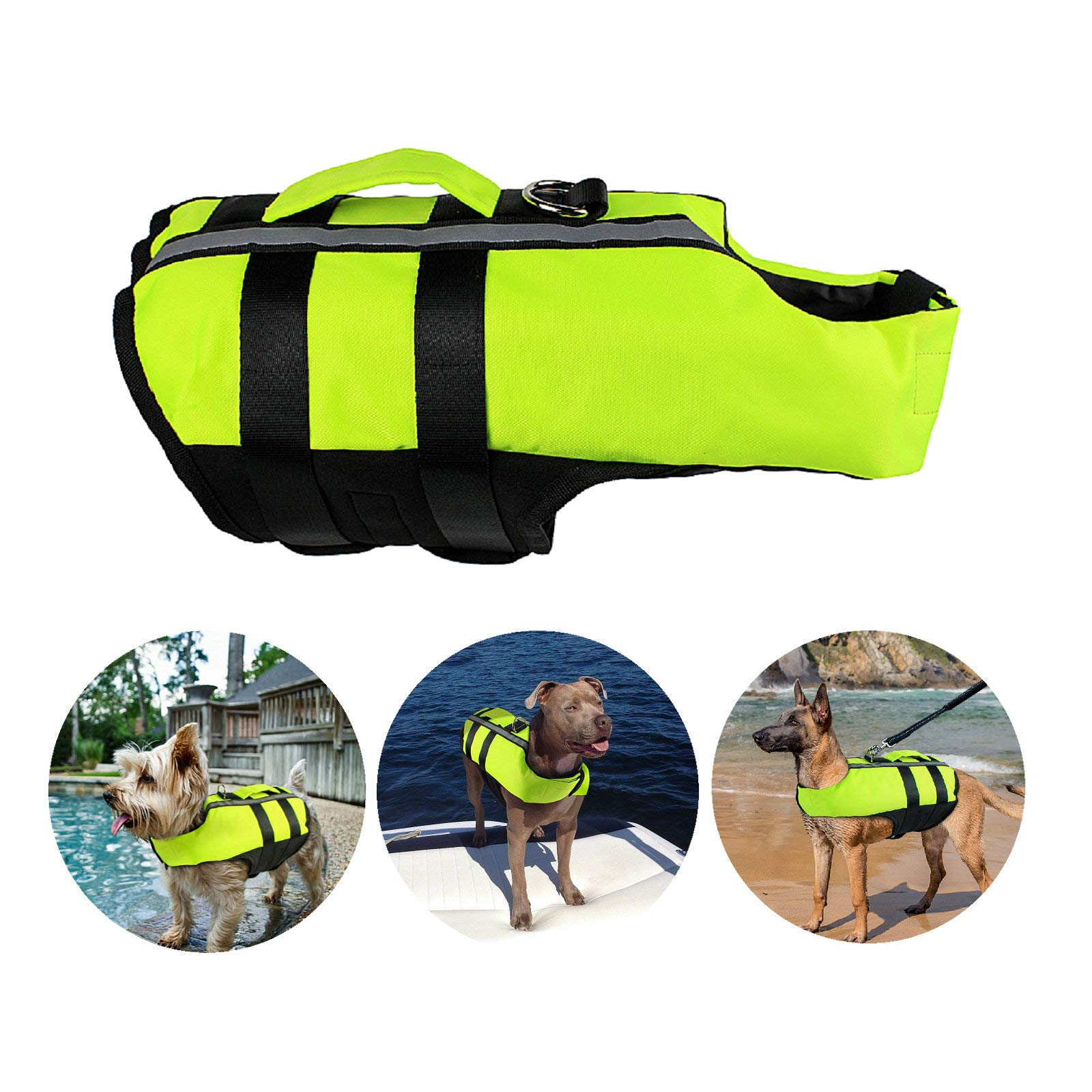 Petvins Dog Life Jacket Inflatable Pet Life Preserver Adjustable Air Sac Swiming Coat Safety Vest Fluorescent Green Large by Petvins