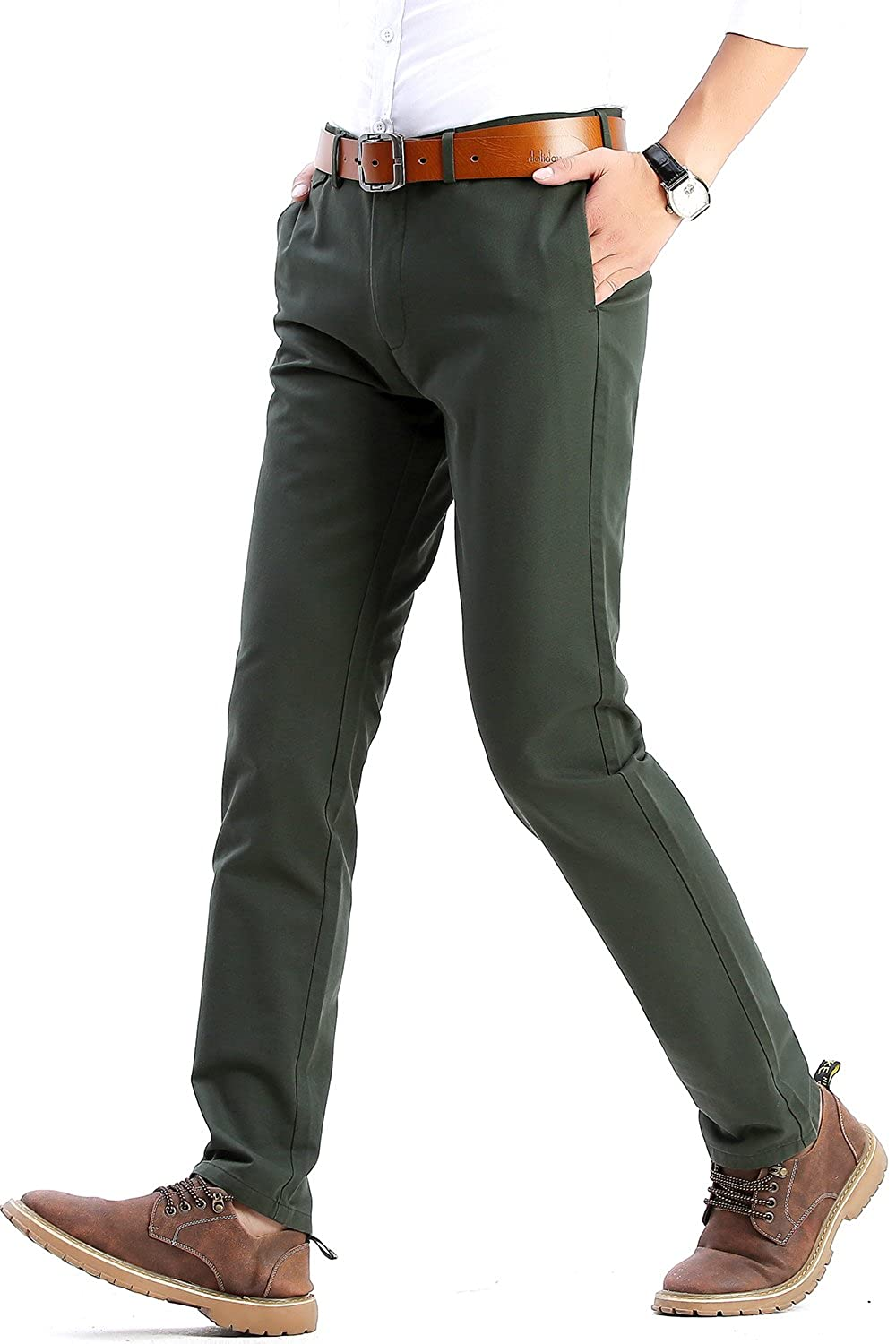 Harrms Mens Slim Fit Casual Twill Pants 100% Cotton Flat Front Tapered Work Pants, 21 Colors, Size 29-40 MH102-HRSHAR2