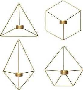 Kimisty Set of 4 Geometric Hanging Tea Light Candle Holder, Gold Wall Decor Air Plant Holder, 3D Modern Nordic Decoration, Wire Metal Diamond Wall Art, Farmhouse Decor