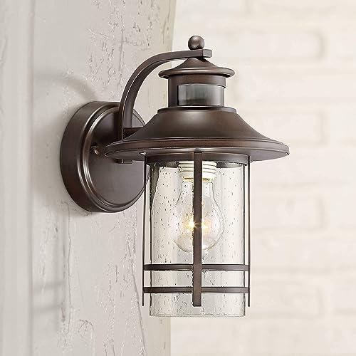 Galt Outdoor Wall Light Fixture Oil-Rubbed Bronze 11 1 4 Seedy Glass Motion Sensor for Exterior House Porch Patio Deck – John Timberland