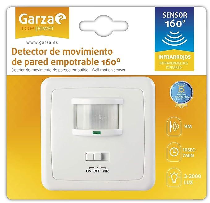 Garza Power - Detector de Movimiento Infrarrojo de Pared Empotrable, Ángulo de Detección 160º, función Interruptor, Blanco: Amazon.es: Bricolaje y ...