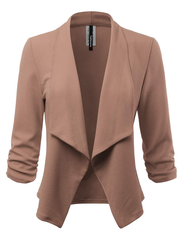 FASHIONOMIC Women's Stretch 3/4 Open Blazer Cardigan Jacket (CLBC001) Mocha M