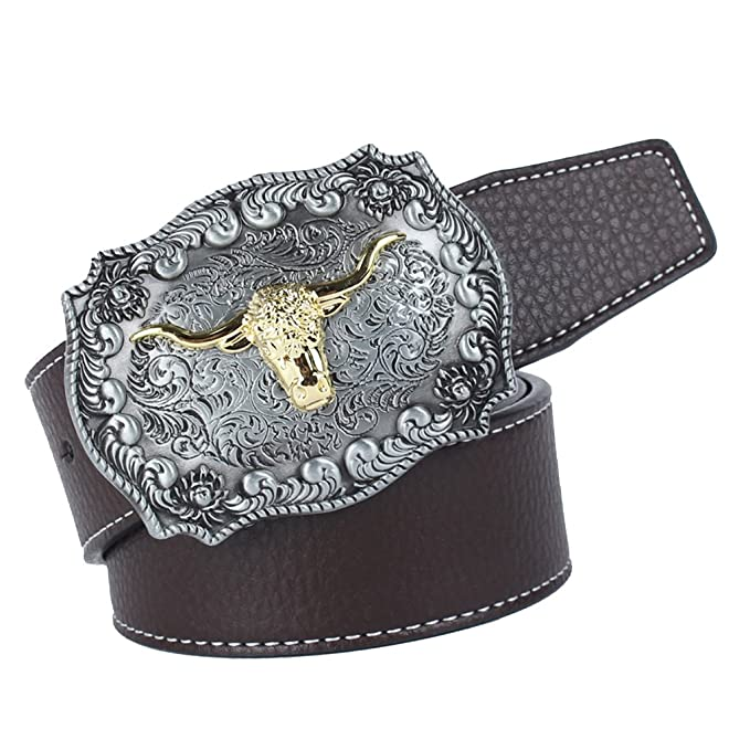 Sharplace Ceinture en Cuir Homme Western Cowboy avec Boucle Arabesque Tête  de Vache - Café, 120cm  Amazon.fr  Vêtements et accessoires 6dac9fd0c44