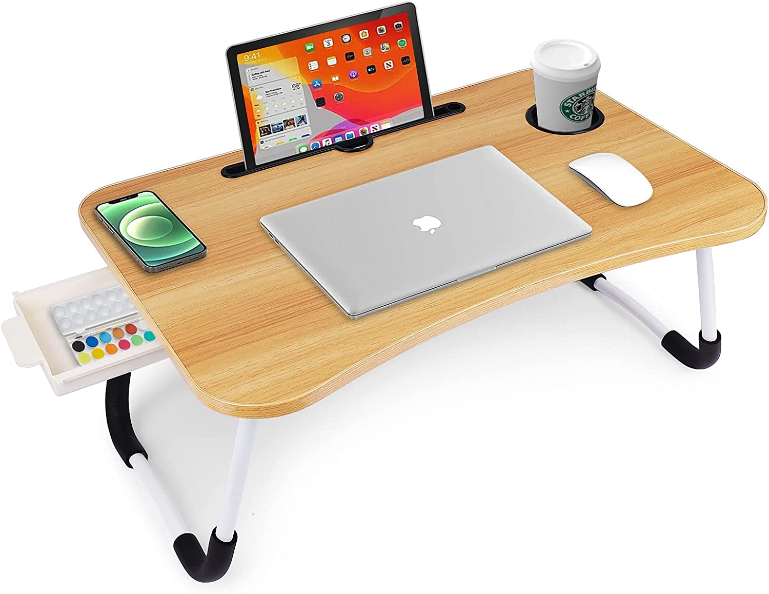 Laptop Desk Foldable Bed Table Portable Multi-Function Lap Bed Tray Table with Storage Drawer and Cup Slot, Notebook Stand Breakfast Bed Tray for Sofa, Bed, Terrace, Balcony, Garden