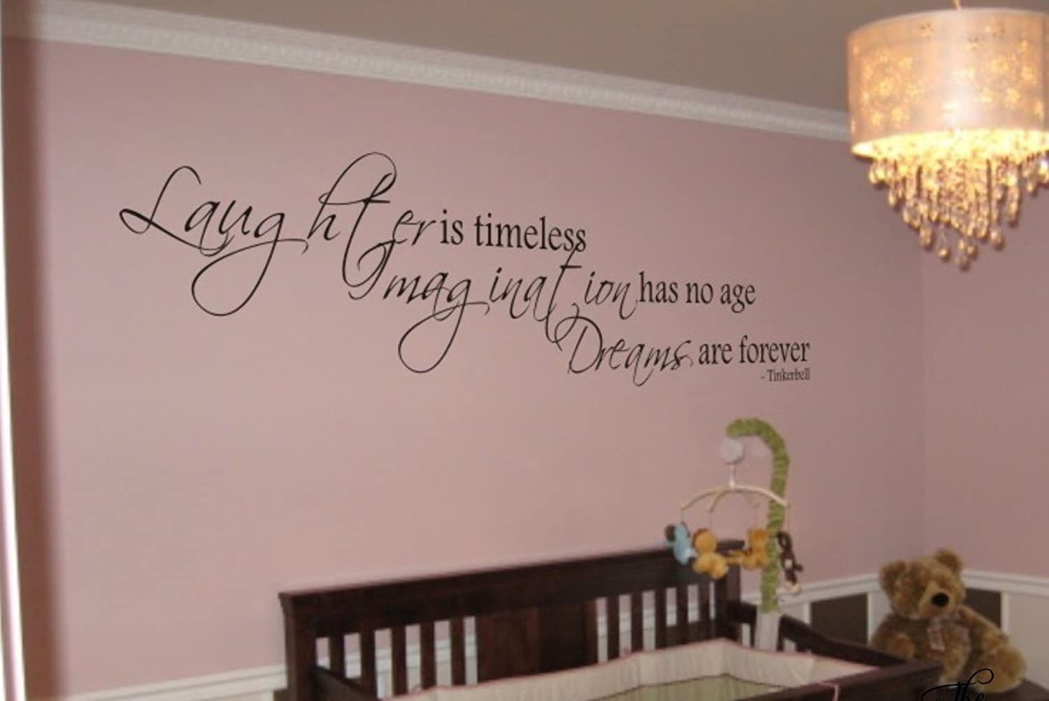 Tinkerbell quote laughter is timeless vinyl wall decal decor tinkerbell quote laughter is timeless vinyl wall decal decor sticker disney quote decals amazon amipublicfo Images