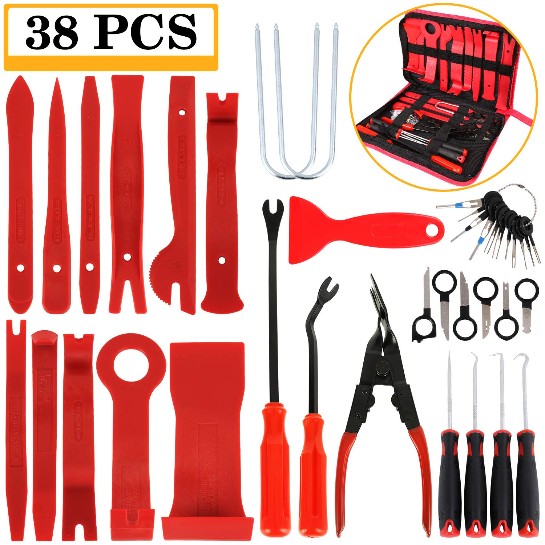 Manfiter 38Pcs Trim Removal Tool, PryKit, Car Panel Tool Radio Removal Tool Kit, Auto Clip Pliers Fastener Remover Pry Tool Kit, Car Upholstery Repair Kit, Prying Tool Kit with Storage Bag