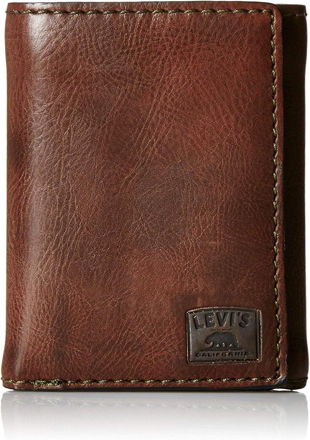 Levi de hombre Trifold cartera con punto de detalle y logotipo