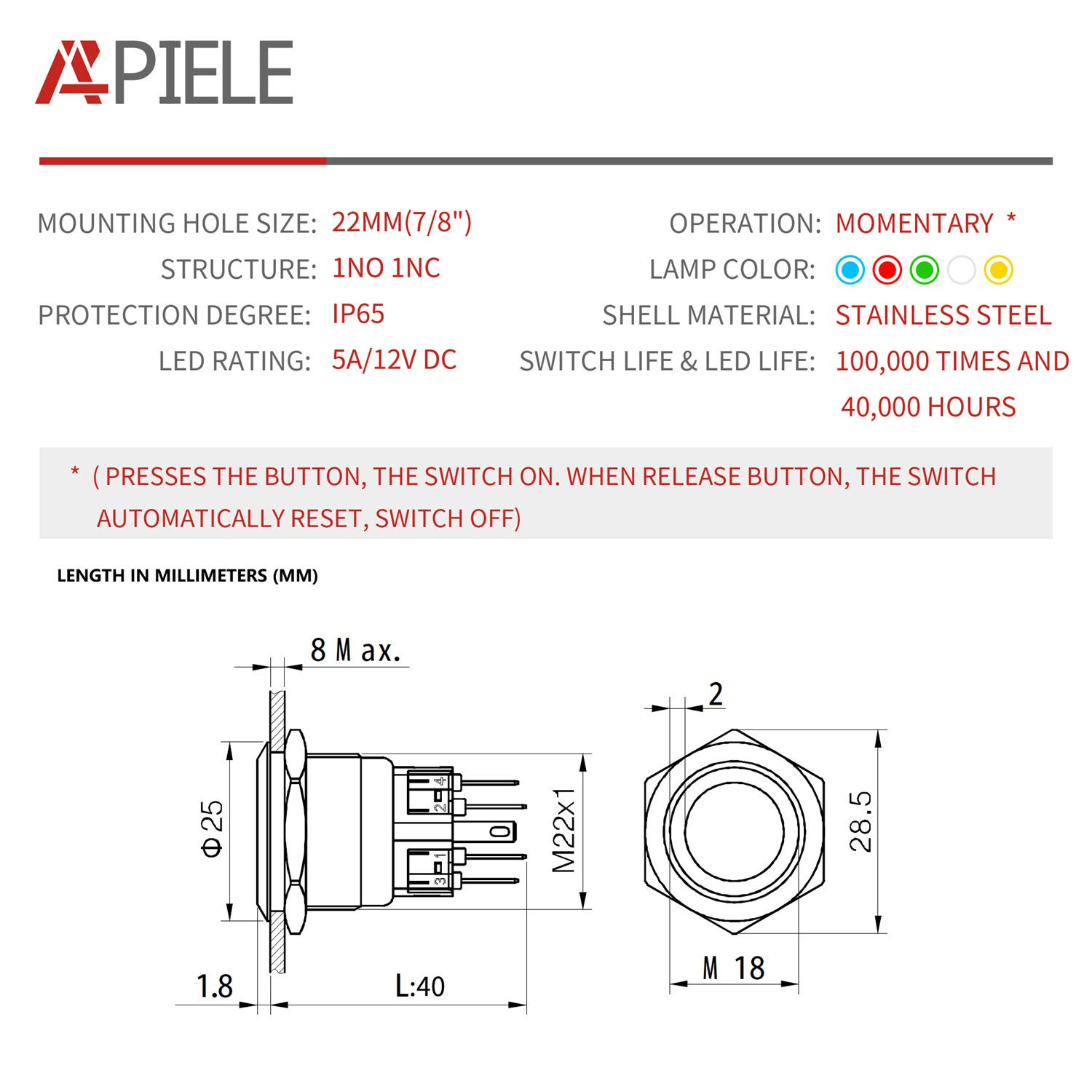 API-ELE 22mm Momentary Push Button Switch 12V Angel Eye LED Waterproof Stainless Steel Round Metal Self-Reset 7//8 1NO 1NC with Pigtail Blue 3 Year Warranty