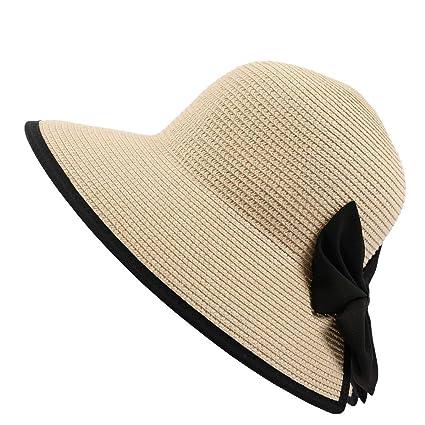 550e275ae Amazon.com : Oneskyside Women Summer Hat Cotton Foldable Sunhat Wide ...
