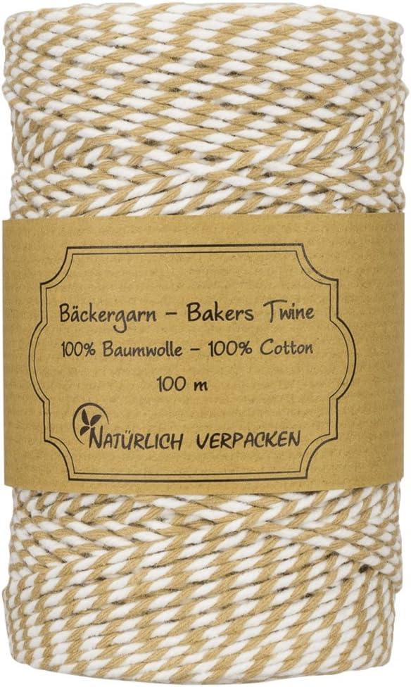 Deko 100 m B/äckergarn Waldgr/ün einfarbige Bakers twine aus 100/% Baumwolle Schnur f/ür Hobby Verschenken Basteln
