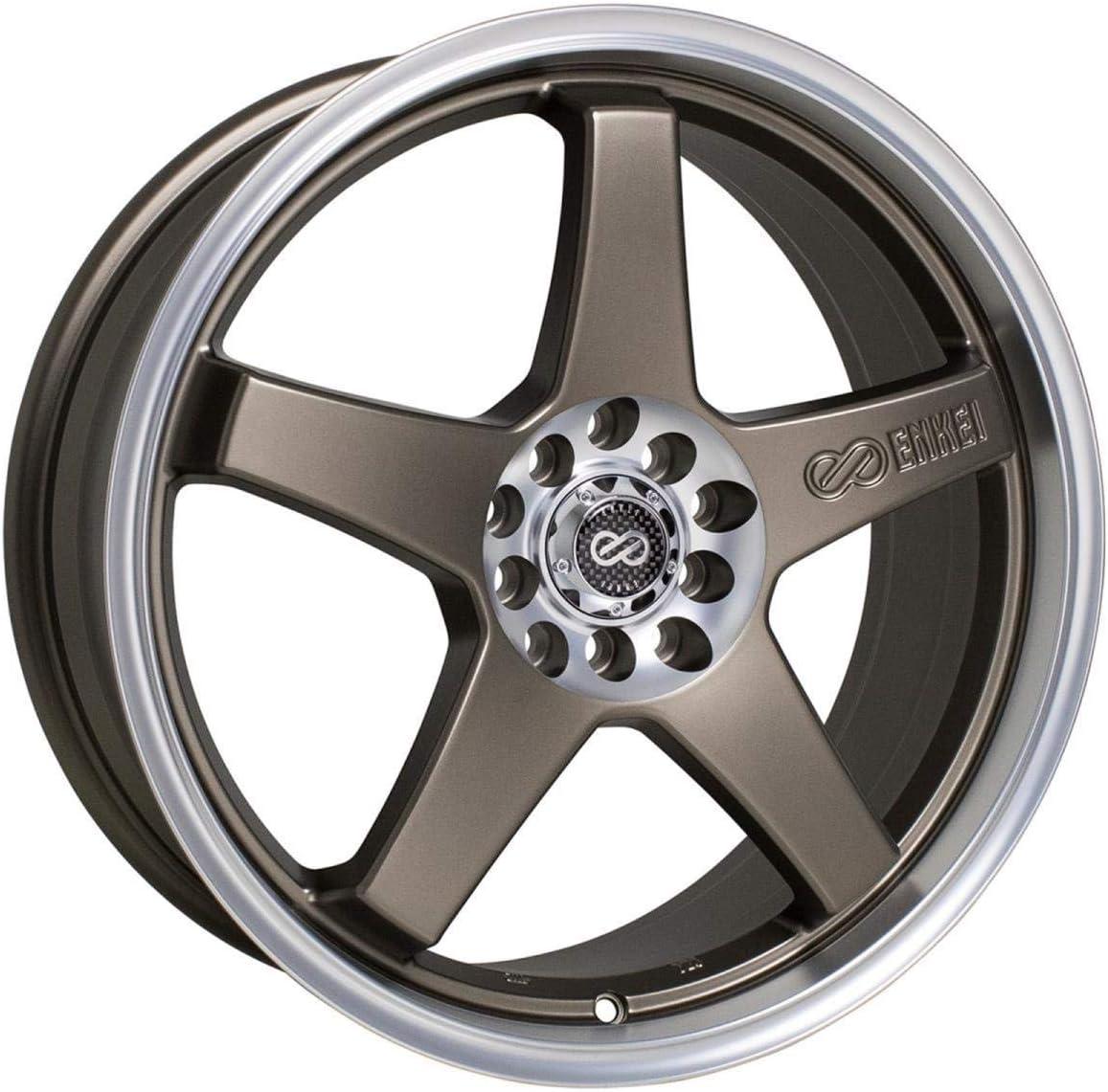 17x7 Enkei EV5 (Matte Bronze w/ Machined Lip) Wheels/Rims 5x100/114.3 (446-770-0245ZP)