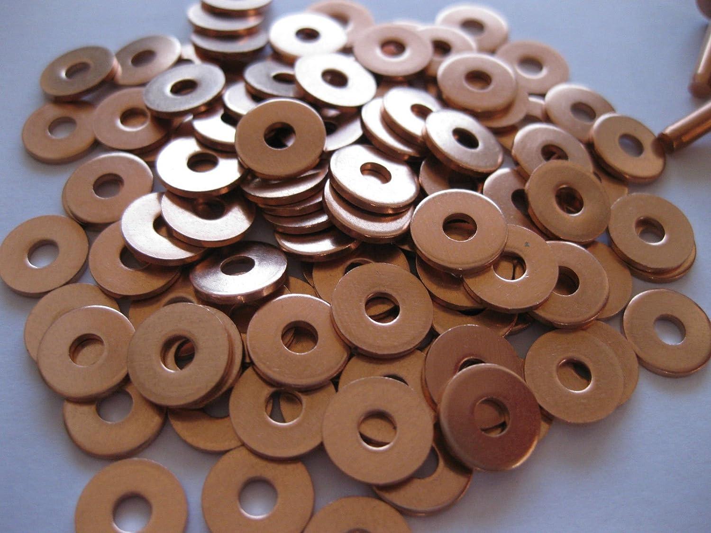 number in pack 100 Copper hose saddlers rivets 10 Gauge x 1//2 with washers leather belt bag crafts