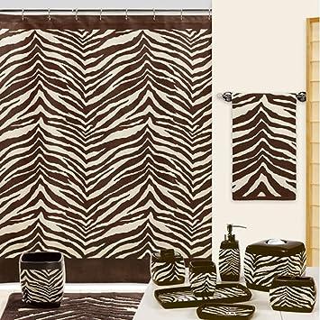 DS BATH Zebra Shower CurtainMildew Resistant Polyester Fabric CurtainPrint Chocolate