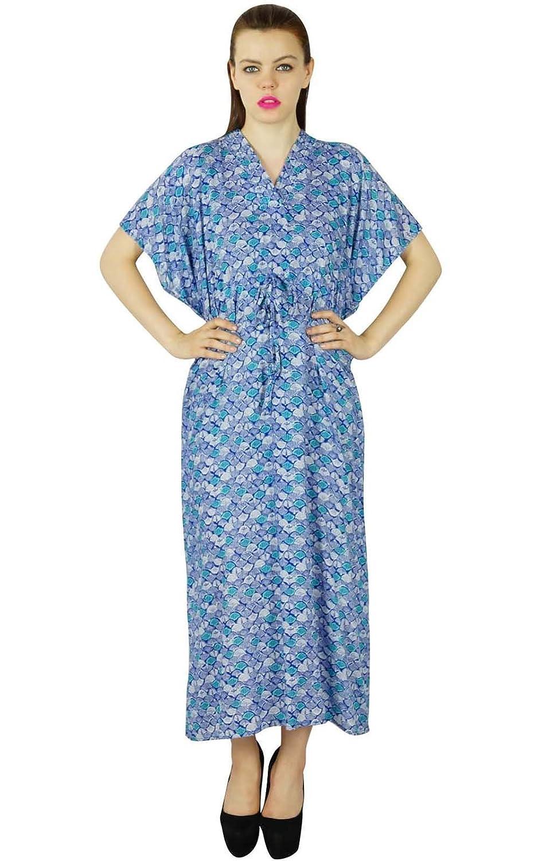 Bimba Frauen lange Baumwolle Kaftan floral bedruckten blauen Gewohnheit Kaftan Nachthemd