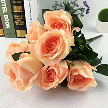 Amazon Com 10 Heads Real Touch Artificial Flowers Silk Roses