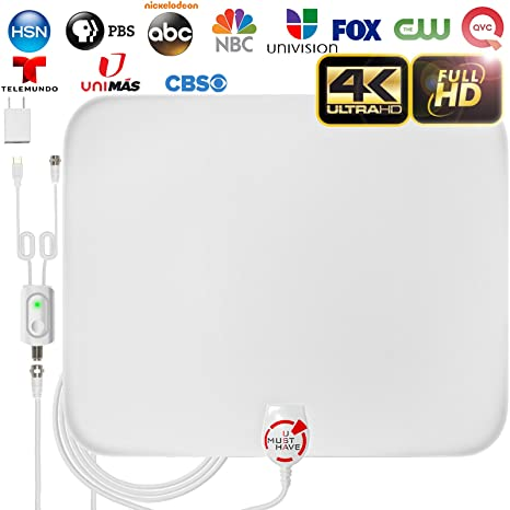 [Latest 2019] Amplified HD Digital TV Antenna Long 65-85 Miles Range -  Support 4K 1080p and All Older TV's Indoor Powerful HDTV Amplifier Signal