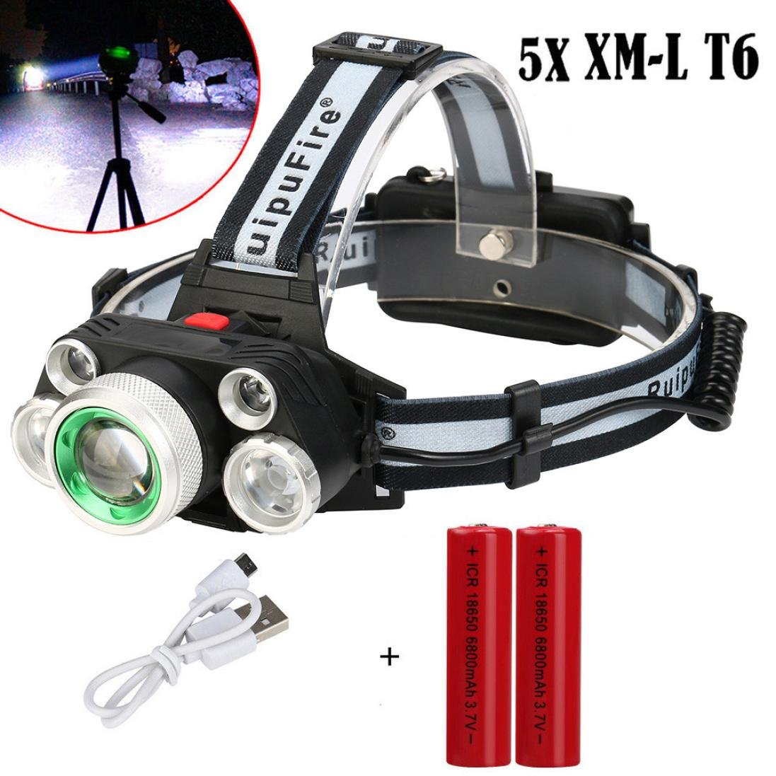 Coerni Professional Waterproof 30000Lumens T6 LED Headlamp USB Rechargeable (B-With Battery)