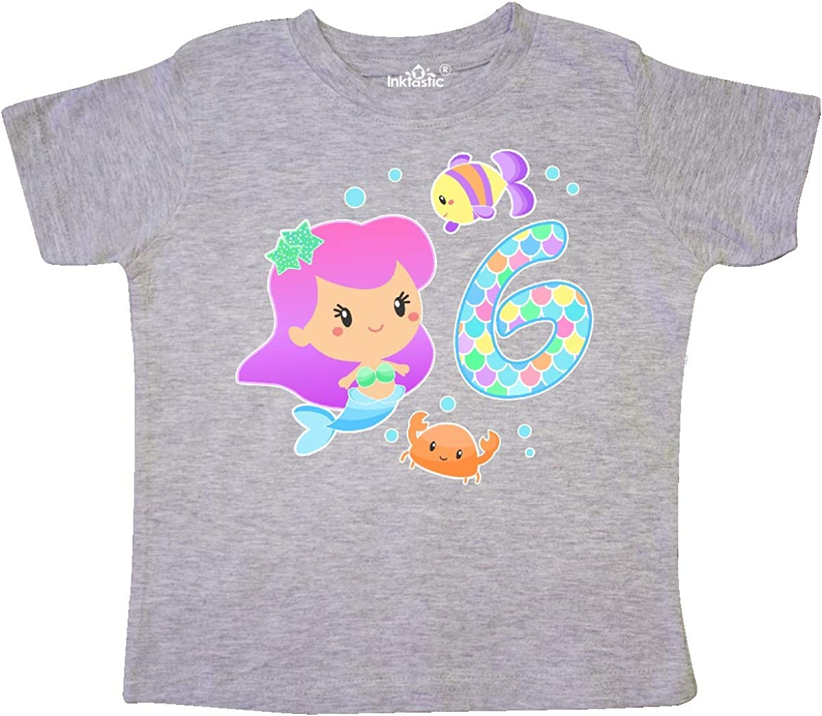 inktastic Sixth Birthday Mermaid with Fish and Crab Toddler T-Shirt