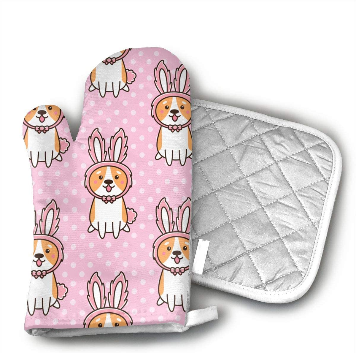 TRENDCAT Welsh Corgi in A Hat Bunny Ears Oven Mitts and Potholders (2-Piece Sets) - Extra Long Professional Heat Resistant Pot Holder & Baking Gloves - Food Safe