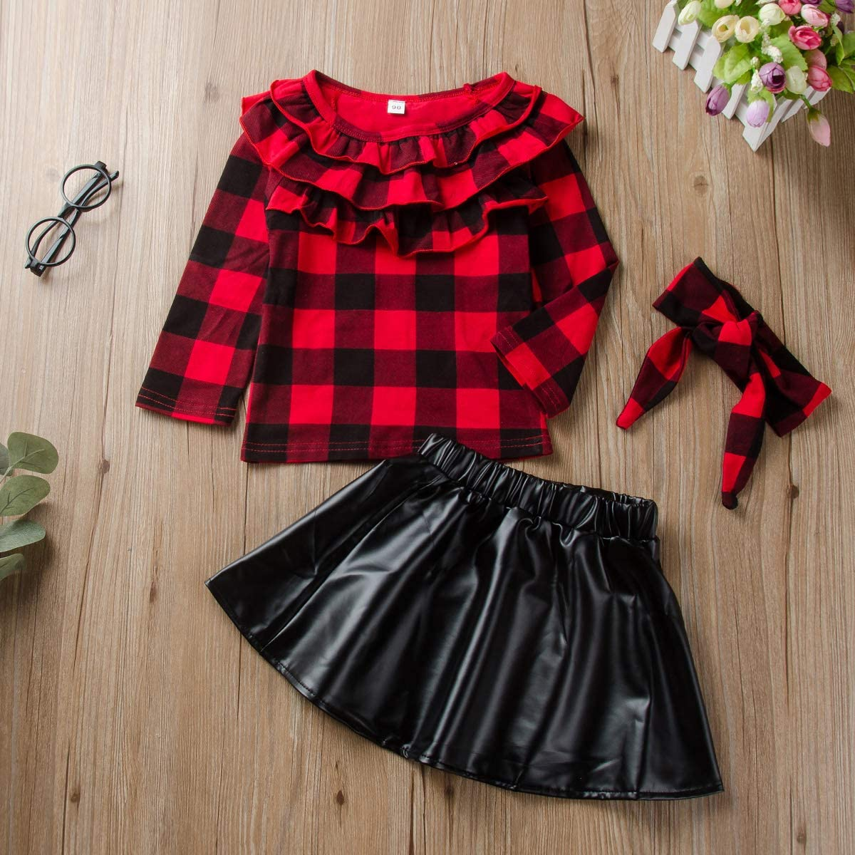 DaMohony Kids Newborn Baby Girls Skirt Outfit Plaid Top Shirt Leather Skirt Headband 3Pcs Kids Clothes Set for 1-6 Years