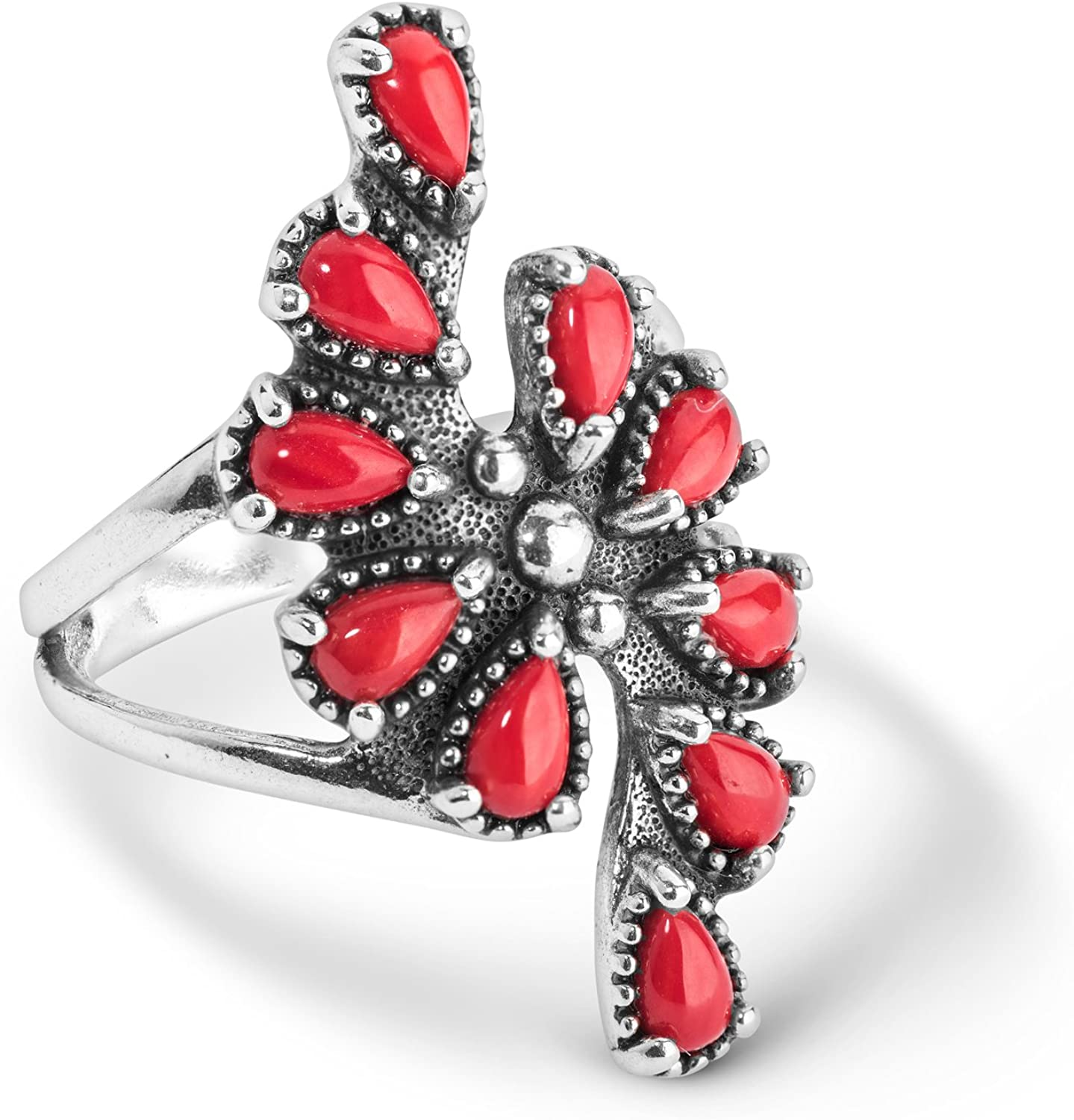 American West Sterling Silver Red Coral Gemstone Cluster Ring Size 5 to 10