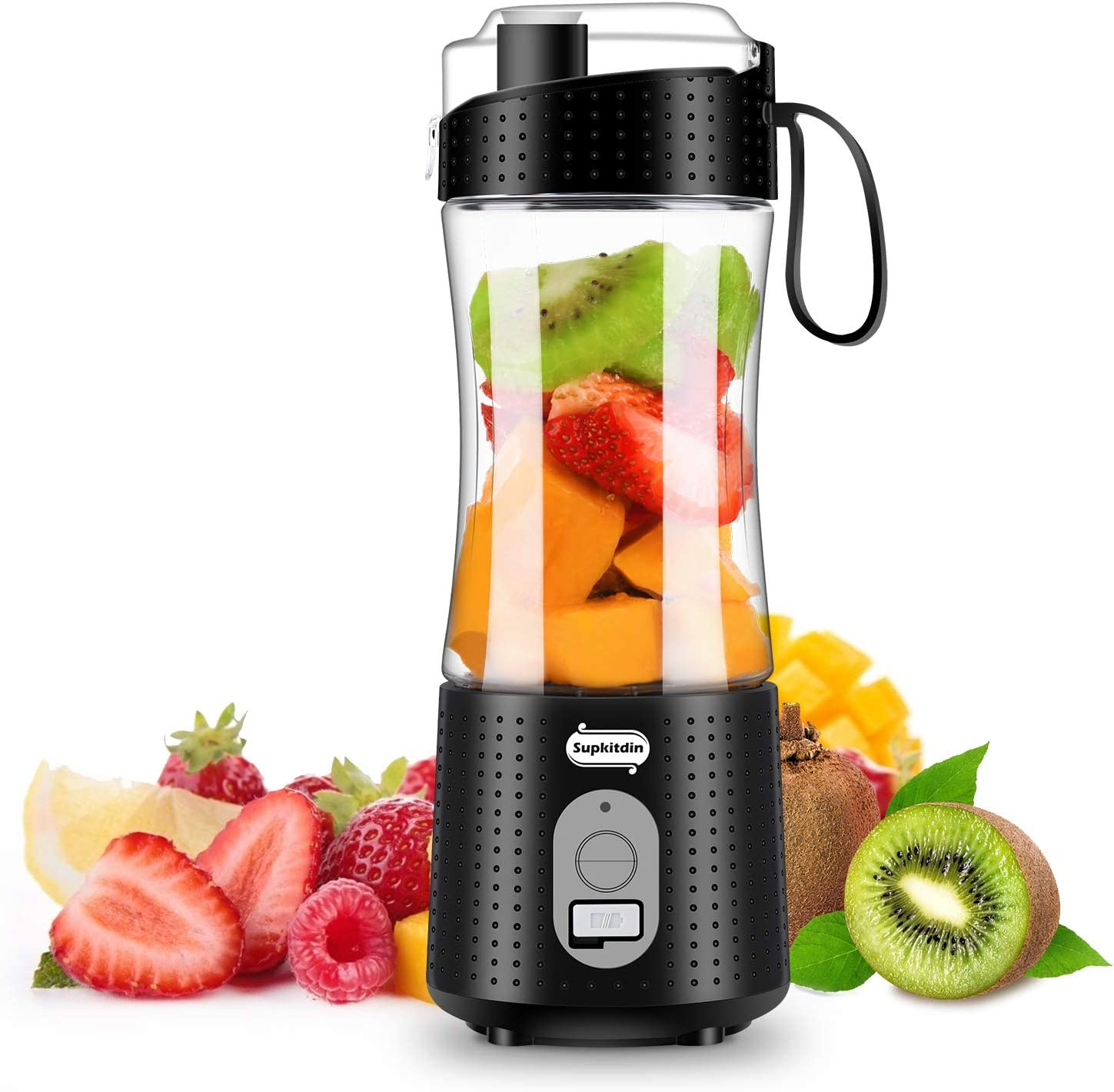 Portable Blender, Supkitdin Personal Size Blender for Smoothies, Juice and Shakes, Mini Blender with Powerful Motor 4000mAh Rechargeable Battery, Six Blades, for Home, Travel, Office (Black)