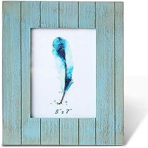 BOLUO Beach 5x7 Picture Frames Blue Farmhouse Barnwood Photo Frame Distressed Wood Barndoor Teal Turquoise Decor (BlueDoor-5x7)