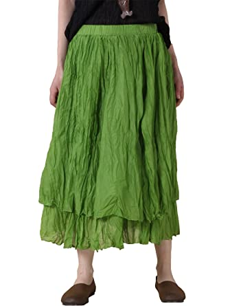 b8268d6d47 Mordenmiss Women's Elastic Baggy Midi Skirts with Two Pockets (M, Layers  Green)
