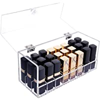 Asien 24Pcs Lipstick Holder Acrylic Makeup Organiser Storage Transparent Cosmetic Box Large Slot with Lid