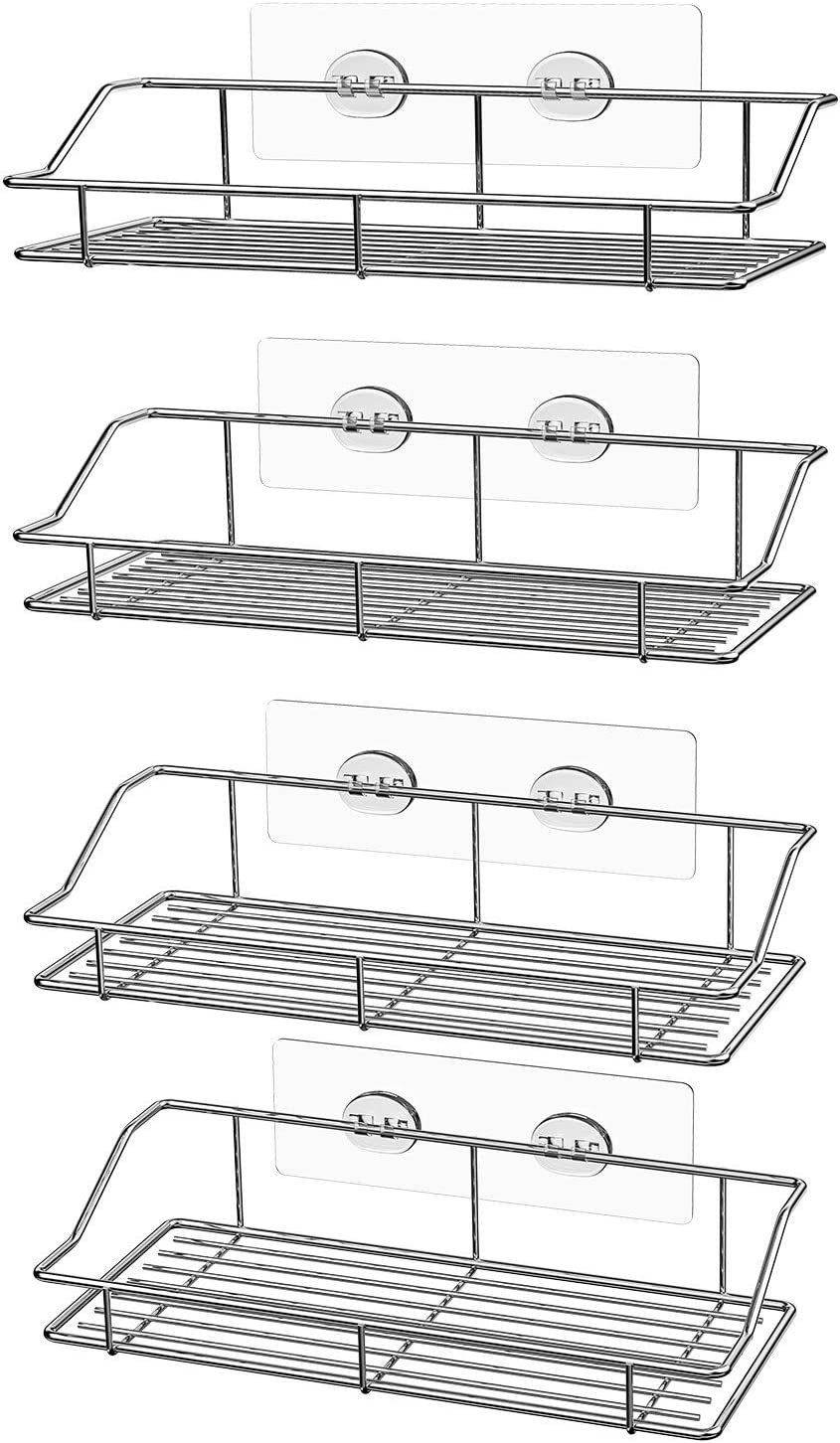 SMARTAKE 4-Pack Shower Caddy, Adhesive Bathroom Shelf Wall Mounted, No Drilling Strong Shower Caddies Kitchen Racks - Stainless Steel Storage Organizers (9.9 Inches), Silver