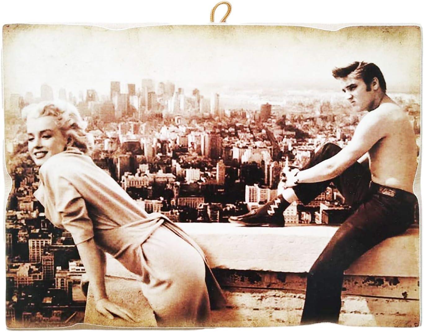 KUSTOM ART Quadro Quadretto Stile Vintage Marilyn Monroe /& Elvis Presley da Collezione Stampa su Legno