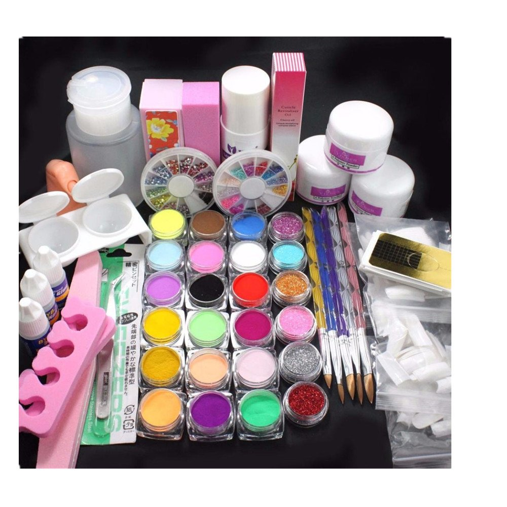 Nail Art Tools Kit Set, Kingfansion 21 in 1 Professional Acrylic Glitter Color Powder French Nail Art Deco Tips Set