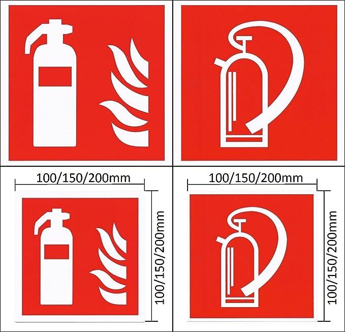 Feuerlöscher Schild Folie selbstklebend ISO 100 x 100 mm Brandschutz Zeichen