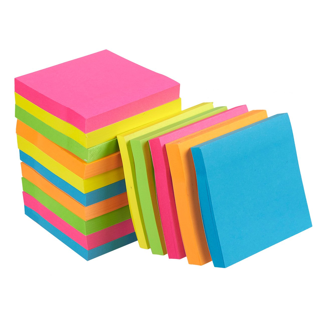 Sticky Notes - 15-Pads Self-Stick Note Pads, Memo, Post, Reminder for Students, Home, Desk, Office Supplies, 5 Colors, 100 Sheets Per Pad, 3 x 3 Inches