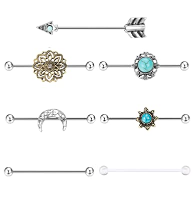 b476372139331 Milacolato 7PCS Industrial Barbell Earring Cartilage Piercing 14G Surgical  Steel Turquoise Industrial Piercing Jewelry