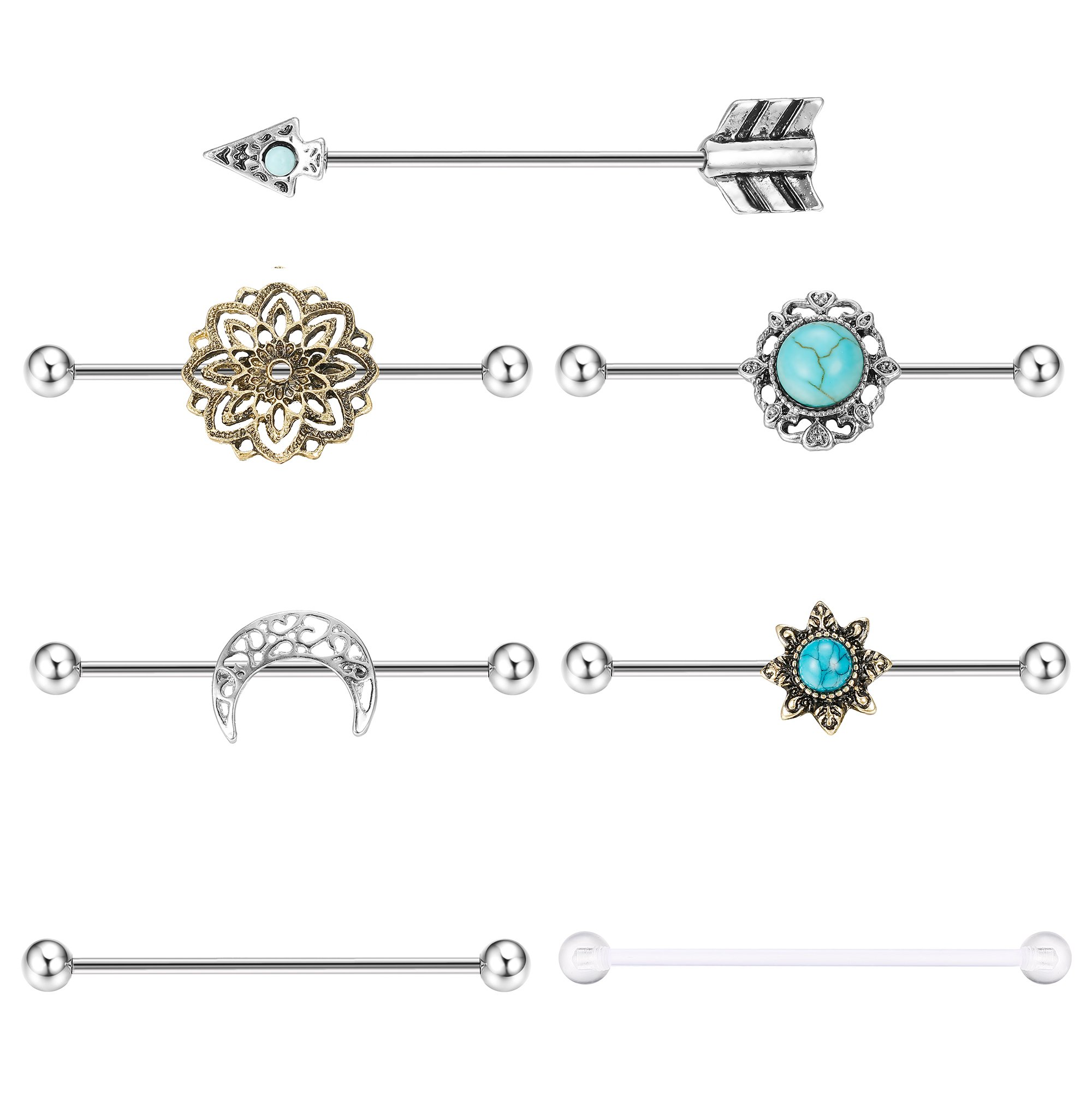 Milacolato 7PCS Industrial Barbell Earring Cartilage Piercing 14G Surgical Steel Turquoise Industrial Piercing Jewelry