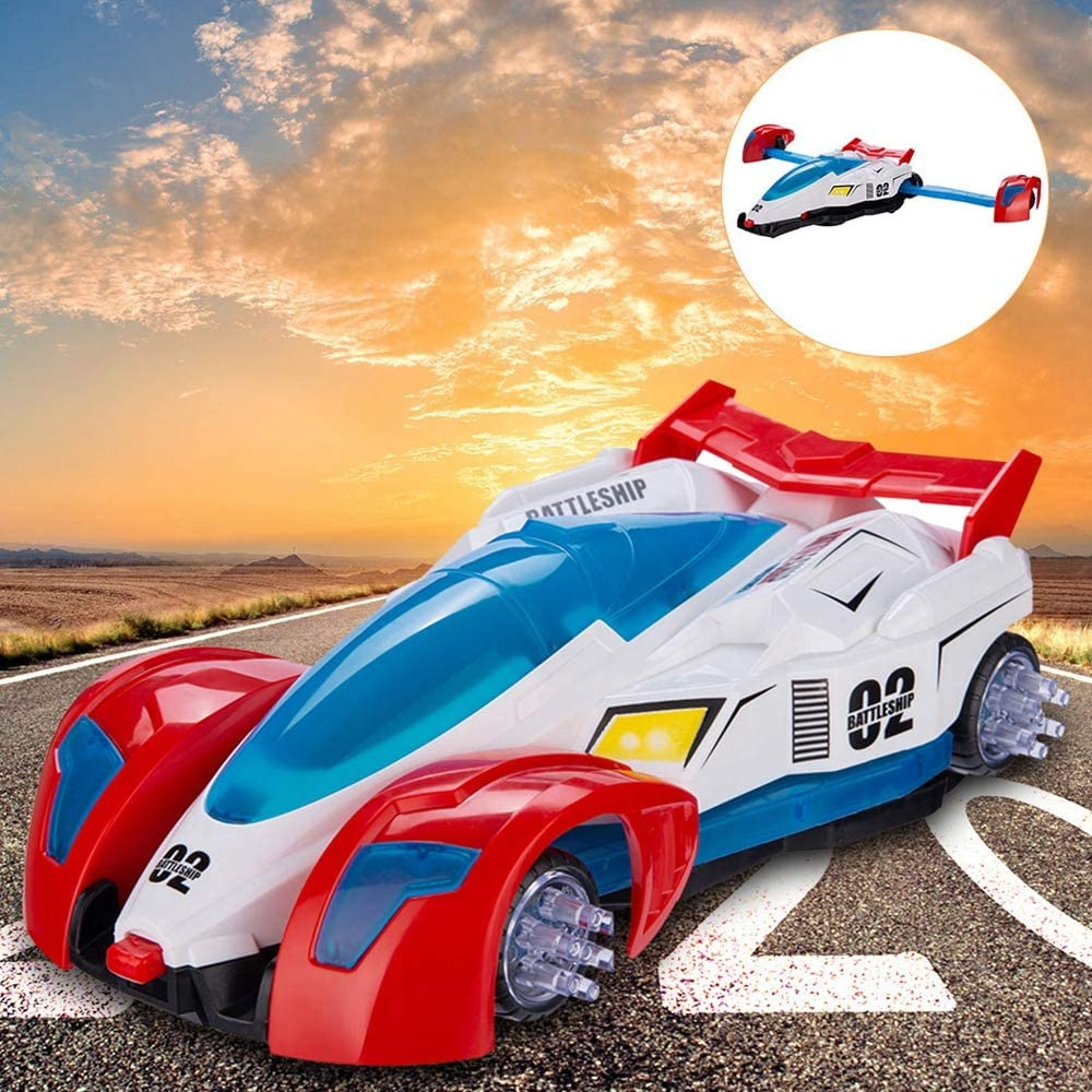 9.5x3.15x5.5inch Electric Car Stunt 360/° Rotation Universal Wheel Plane Toy Kids Gift Fun Gift for Ages 5+ Automatic Deformation Toy Vehicle with Light /& Music Deformation Aircraft Toy Car