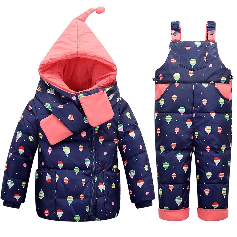 OMSLIFE Baby Set Daunenjacke mit Kaputze Bekleidungsset Baby Kinder Junge Mädchen Verdickte Winterjacke + Winterhose Kleinkind Light rain Aufdruck Daunenhose Jacket