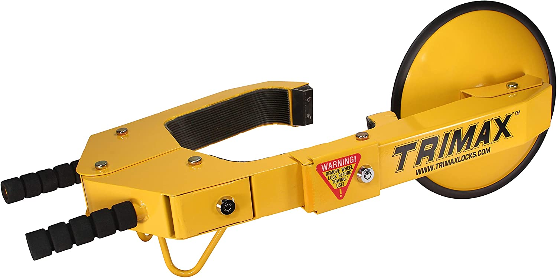 Trimax Ultra-Maxadjustable Wheel Lock with Heavy Steel Disc Covers Lug Nuts TWL100 Box Packaging