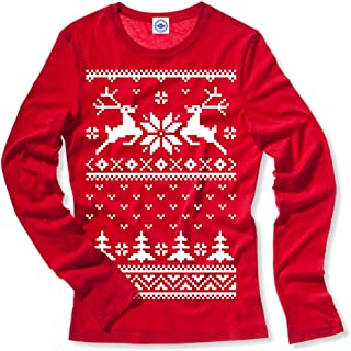 product image for Hank Player U.S.A. Christmas Reindeer Sweater Women's Long Sleeve T-Shirt