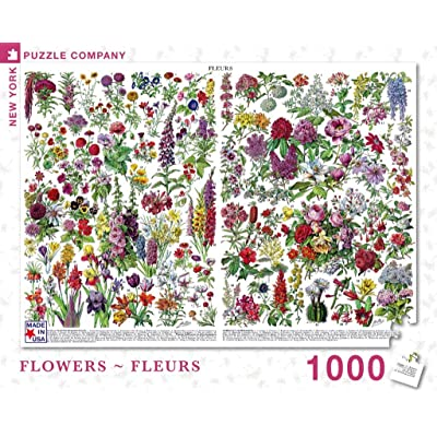 New York Puzzle Company - Vintage Images Flowers ~ Fleurs - 1000 Piece Jigsaw Puzzle: Toys & Games