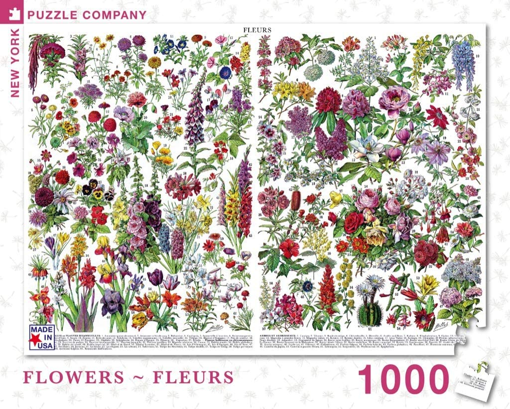 New York Puzzle Company - Vintage Images Flowers ~ Fleurs - 1000 Piece Jigsaw Puzzle