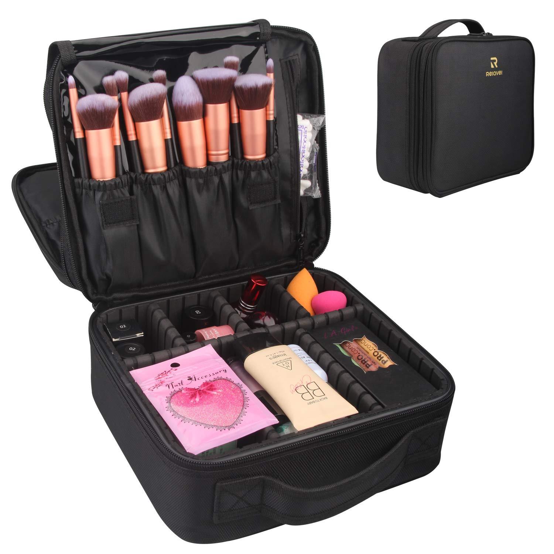 Travel Makeup Case,Relavel Makeup Bag Cosmetic Case Train Case Adjustable  Storage Organizer