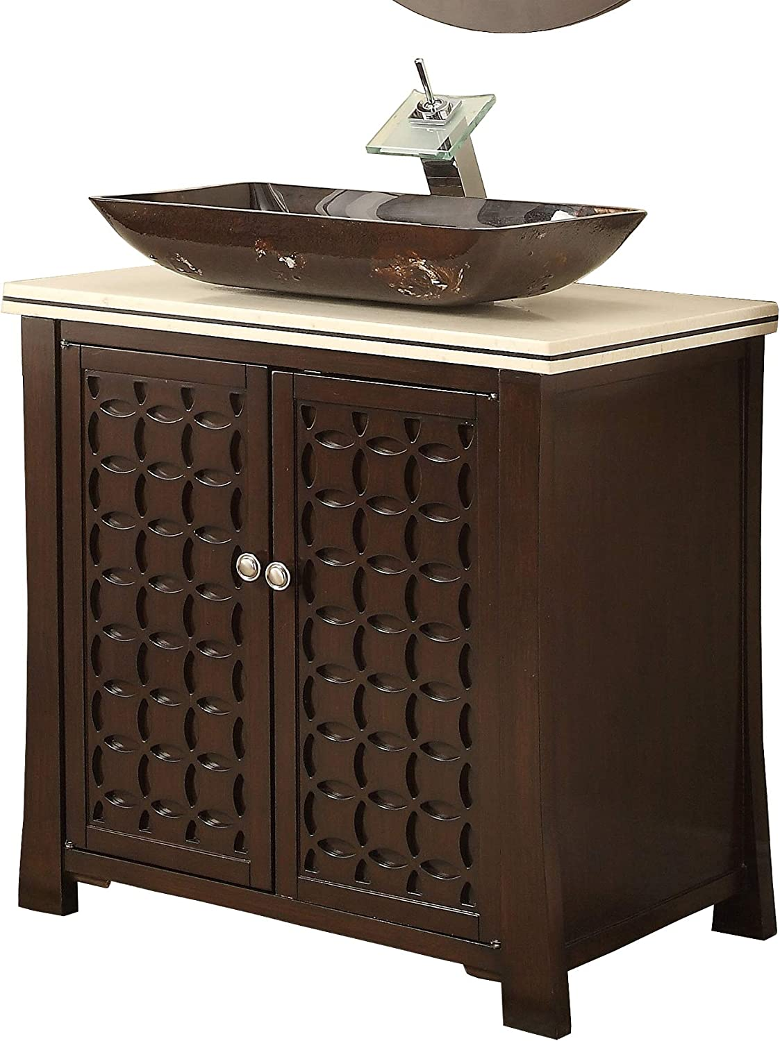30 Giovanni Vessel Sink Brown Modern Contemporary Bathroom Vanity HF339A