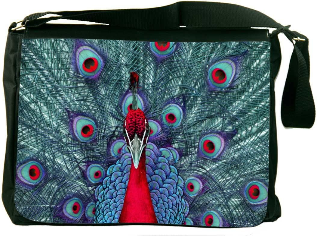 Rikki Knight Peacock Psychedelic Red Messenger Bag School Bag