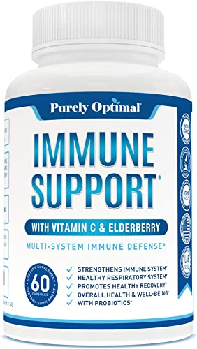 Premium Immune Support Supplement - Immune Booster for Adults w Vitamin C, Elderberry, Zinc Probiotics - Immune System Booster, Supports Healthy Respiratory System Overall Wellness, 60 Capsules